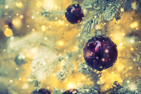 red christmas ball: Christmas decoration ornament background - vintage and snow filter effect