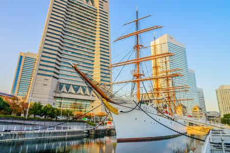 nippon: YOKOHAMA, JAPAN - November 24 : Nippon Maru Boat in Yokohama, Japan on November 24, 2015. Nippon Maru Boat was a training ship for the cadets of the Japanese merchant marine. Boat was built in 1930.