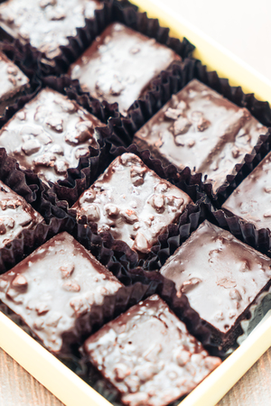 plato del buen comer: Selective focus point on Chocolate brownie - vintage filter Foto de archivo
