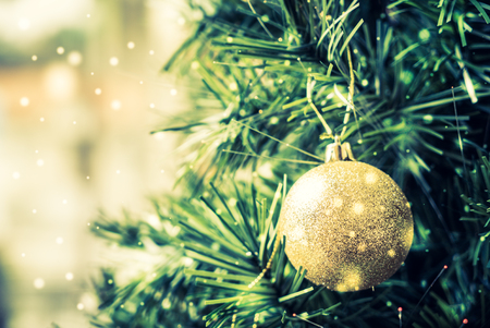 gold tree: Christmas decoration ornament background - vintage and snow filter effect