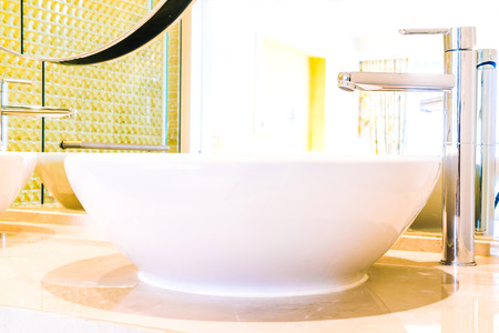 bathroom: White sink faucet decortaion in Bathroom interior - Filter effect Stock Photo