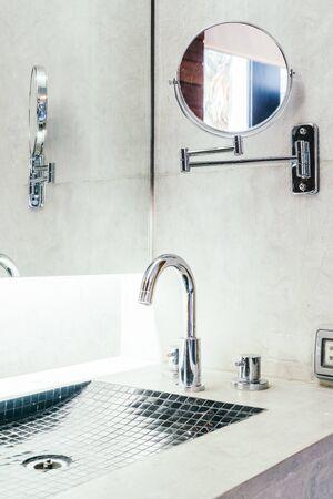 bathroom interior: Faucet and sink decortaion in bathroom interior - Vintage filter Stock Photo