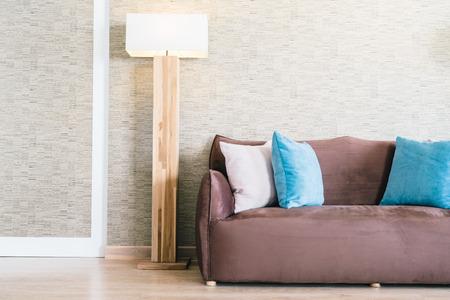 livingroom: Pillow and Sofa decoration in luxury livingroom interior - Filter effect Stock Photo