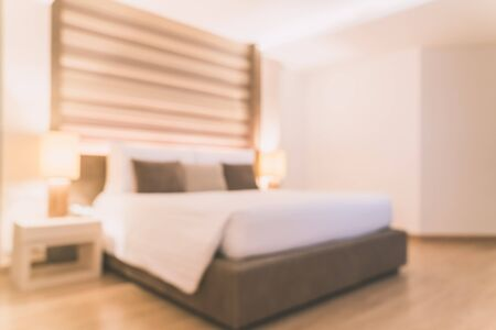 empty room background: Abstract blur bedroom interior background - Vintage filter