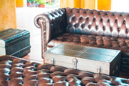 Sofa Dekoration Im Wohnzimmer Interieur - Vintage-Filter Lizenzfreie ...