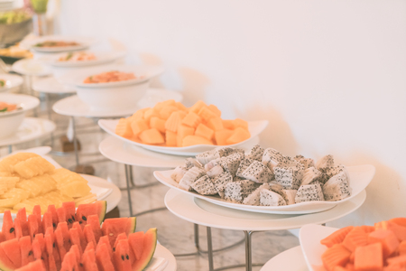 catering: Selective focus point on Catering buffet in hotel restaurant - Vintage filter effect Stock Photo
