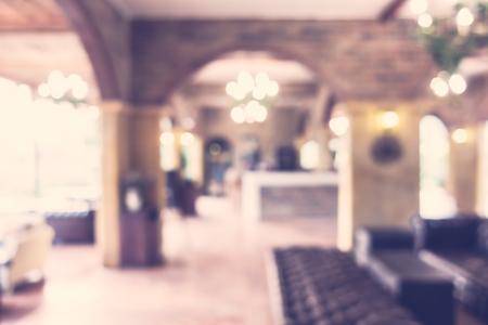 restaurant interior: Abstract blur restaurant interior background - Vintage filter Stock Photo