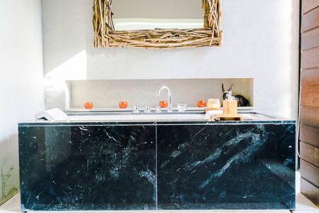 bathroom interior: Bathtub decoration in bathroom interior - Vintage filter effect