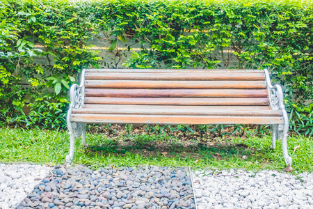 empty bench: Empty bench in the park - Filter effect Stock Photo