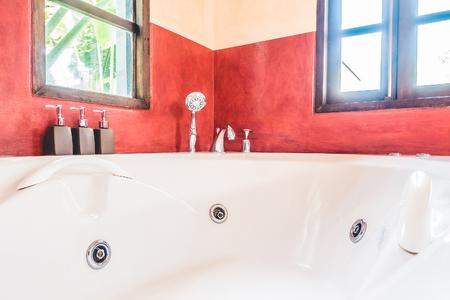 bathroom interior: Beautiful luxury Bathtub decoration in bathroom interior - Vintage Filter