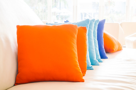 table decorations: Beautiful luxury pillow on sofa decoration in livingroom interior for background - Vintage Filter