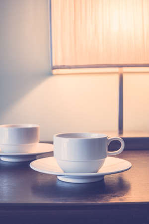 tea lamp: Coffee cup with table light lamp decoration in livingroom interior - Vintage Filter