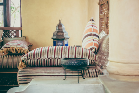 living style: Pillow on sofa decoration interior with morocco style - Vintage Filter