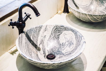 bathroom interior: Faucet sink decoration in bathroom interior - Light Vintage Filter