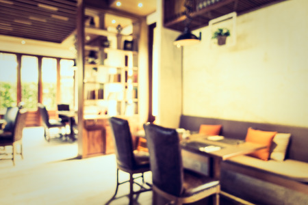 restaurant tables: Abstract blur restaurant interior for background - Vintage Filter
