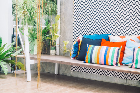 Patio outdoor deck with colorful pillow on chair decoration