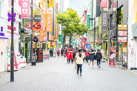 Seoul,South Korea - November 01,2015 : More Peoples shopping at Myeongdong market shopping street in Seoul city Korea