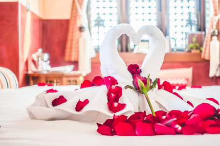 Swan Towel And Rose Flower Decoration On Bedroom Interior With.. Stock  Photo, Picture And Royalty Free Image. Image 52302575.