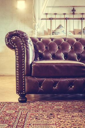 Vintage Decoratie Lederen Sofa In De Woonkamer Interieur - Vintage ...