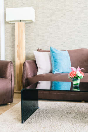 livingroom: Pillow and Sofa decoration in luxury livingroom interior - Filter effect Stock Photo