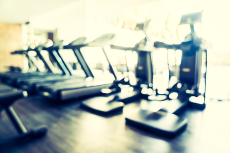 treadmill: Abstract blur fitness gym interior background - Filter effect Stock Photo