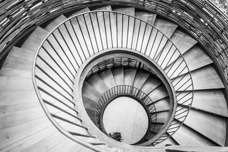 Spiral Circle Staircase Decoration Interior   Black And White Filter  Processing Stock Photo