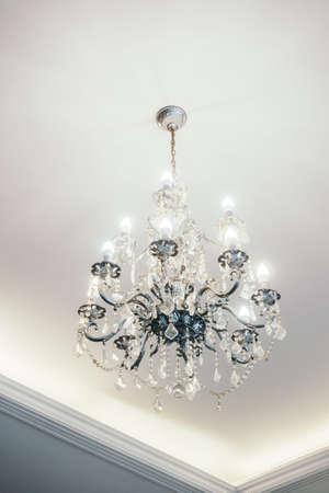 Chandelier decoration in living room interior - Vintage light Filter