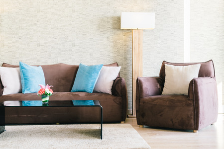 Pillow and Sofa decoration in luxury livingroom interior - Filter effect Stock Photo