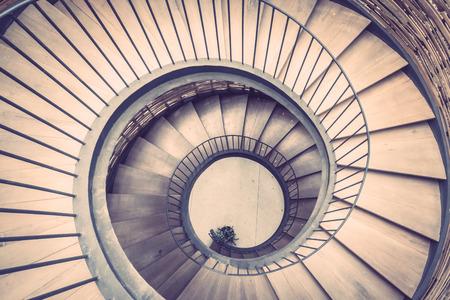 Spiral circle staircase decoration interior vintage filter stock
