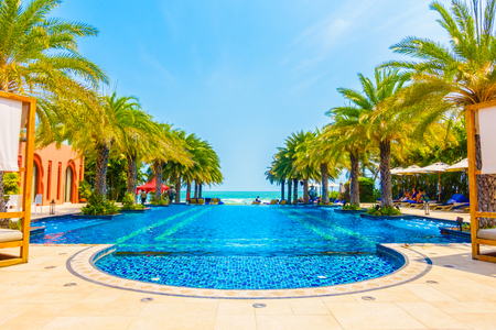hotel resort: Beautiful luxury swimming pool in hotel pool resort - Boost up color Processing