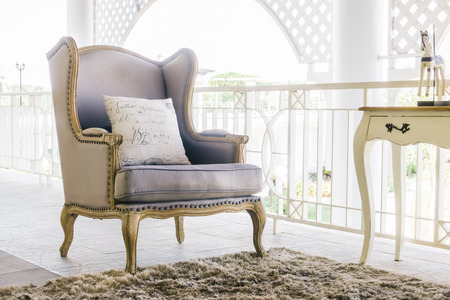 Beautiful luxury sofa decoration of livingroom interior - Vintage Film filter