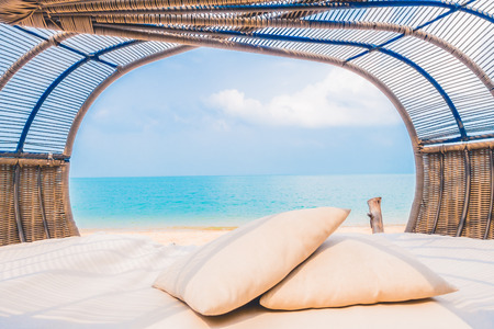 pillow: Beautiful Luxury deck with pillow on the beach and sea