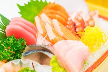 Raw fresh fish sashimi japanese food - soft focus point