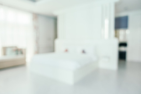 dorm: Abstract blur beautiful luxury bedroom interior for background Stock Photo