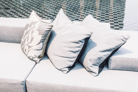 pillow: Beautiful luxury modern Pillow on sofa and chair decoration around outdoor patio - Vintage Light Filter Stock Photo