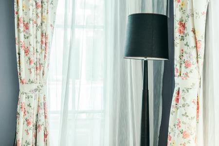 bedside lamps: Light lamp decoration in living room interior - Vintage Light Filter Stock Photo