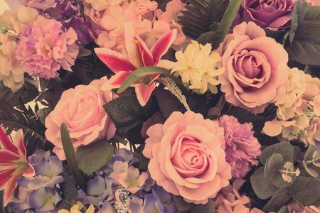 flower fields: Beautiful bouquet flower for background - Vintage Filter