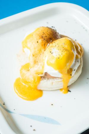 benedict: Selective focus point on Egg benedict for breakfast