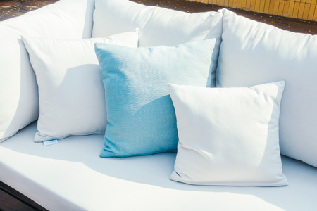 white pillow: Beautiful luxury Pillow on sofa decoration in livingroom interior - Vintage Light Filter