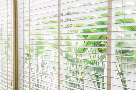 リビング ルームのインテリア - ヴィンテージ光フィルターでブラインド ウィンドウ装飾の選択的なフォーカス ポイント