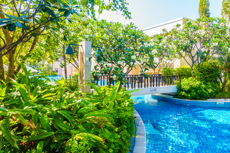 water garden: Beautiful luxury Swimming pool in hotel resort