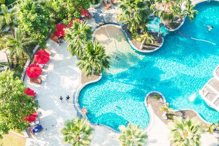 hotel resort: Aerial view of beautiful luxury outdoor swimming pool in hotel resort