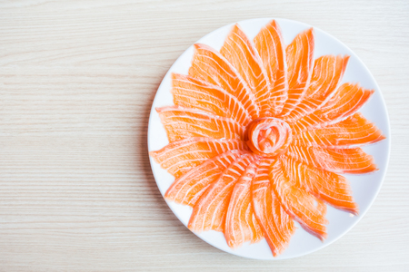 food dish: Selective focus point salmon Sashimi dish - Japanese food style Stock Photo