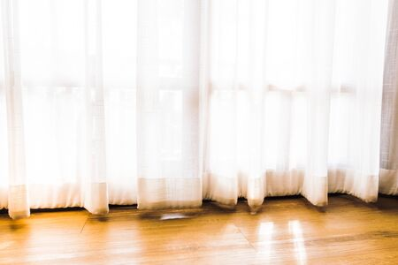 window curtains: Beautiful luxury window curtains decoration interior of room - Vintage light Filter Stock Photo