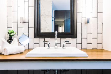 Beautiful luxury white sink decoration in bathroom interior - Vintage Light Filter Banco de Imagens