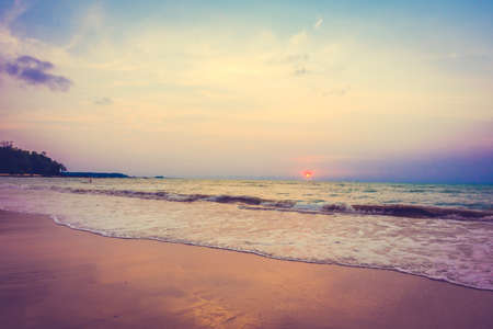 vintage landscape: Beautiful sunset on the tropical beach and sea landscape - Vintage filter and Boost up color Processing Stock Photo