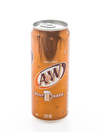 root beer: BANGKOK, THAILAND - MARCH 13, 2015 : A&W root beer can isolated on white background