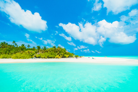 Beautiful tropical beach and sea with coconut palm tree on blue sky in Maldives island - Boost up color Processing
