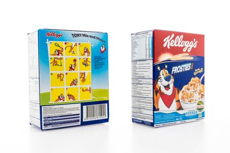 sanitarium: BANGKOK, THAILAND - MAY 27, 2016 :  Cereal box brand kelloggs isolated on white background Editorial