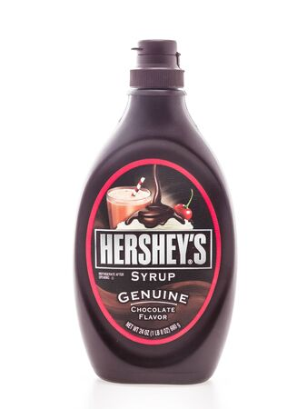 hersheys: BANGKOK, THAILAND - MARCH 13, 2015 : Hersheys chocolate syrup bottle isolated on white background